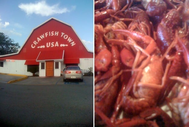 Collage of two images, one showing the exterior of Crawfish Town USA and the other showing a close up of boiled crawfish