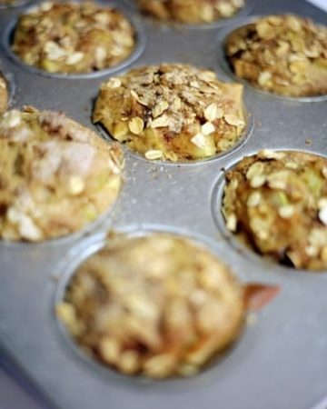 Apple Pie Muffins in a muffin tin after baking