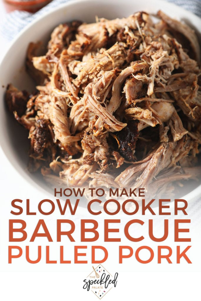 A bowl of pulled pork with the text how to make slow cooker barbecue pulled pork
