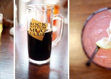 A collage of three images showing Rock Bottom Brewery drinks we enjoyed, including a beer, a root beer and a pink lemonade