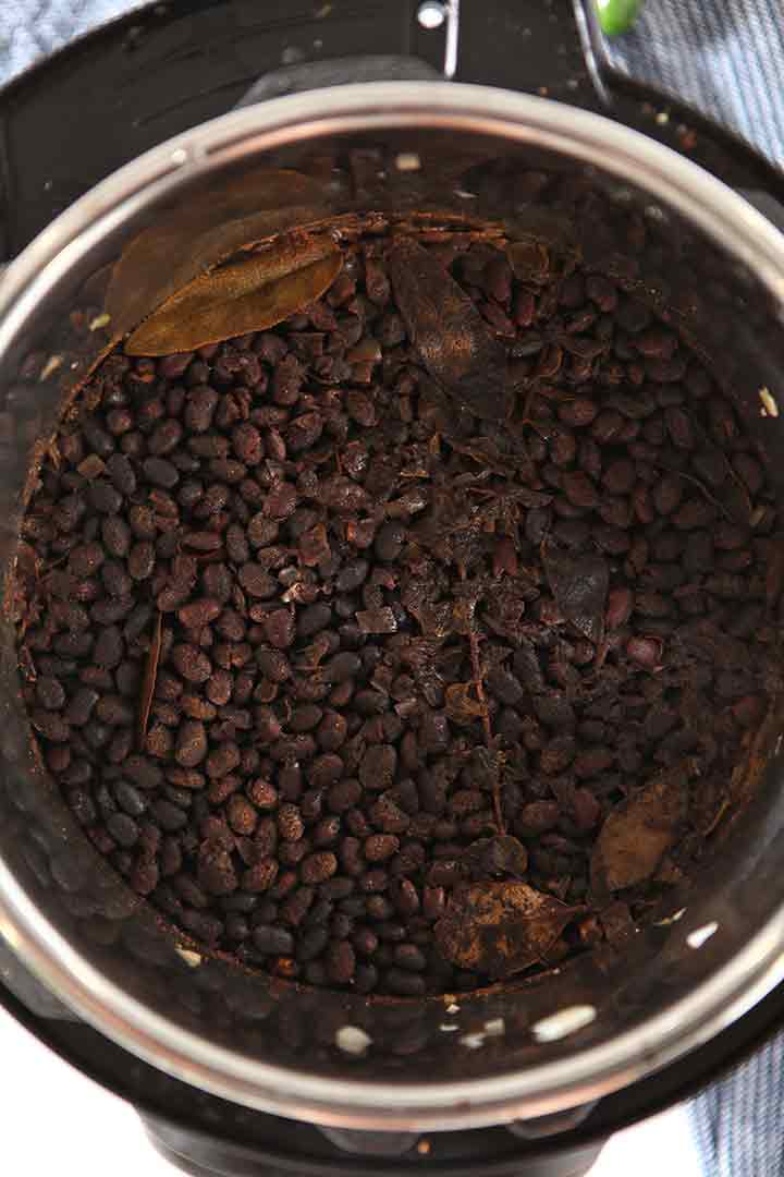 The beans after the high pressure cook, still inside the Instant Pot
