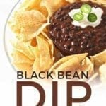 Pinterest image, including text and a close up of the dip, garnished and with chips