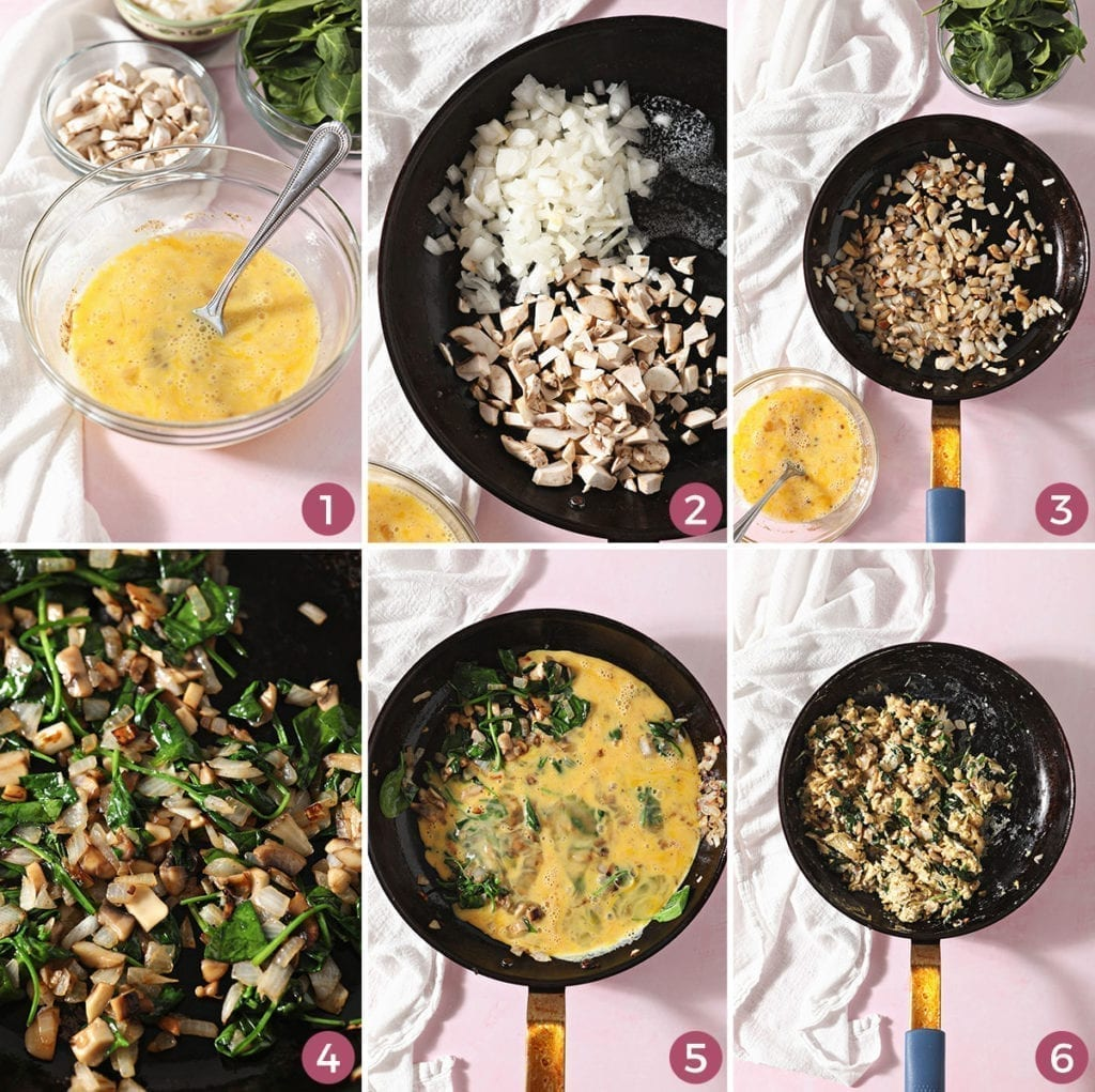 Collage of six images showing how to make soft scrambled eggs with vegetables