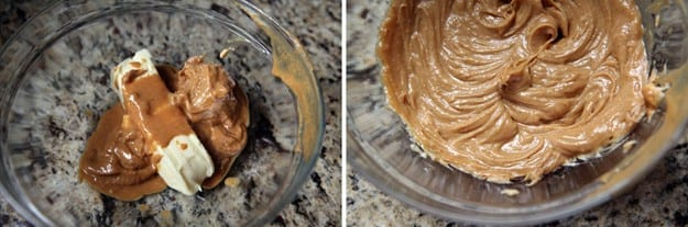 A collage of two images showing peanut butter and a stick of butter, as well as what they look like after being blended with a hand mixer
