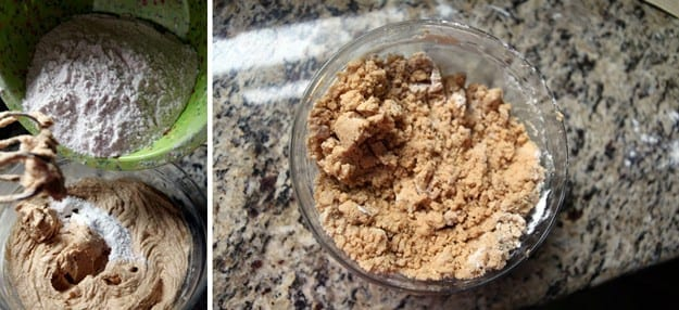 A collage of two images showing dry ingredients sprinkled into wet ingredients and the loose cookie dough after blending in its bowl