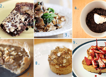 A collage of the Speckled Palate's top 10 recipes of 2011, including a cupcake, a bar cookie, eggs, beans, pulled pork, chocolate crinkle cookies, a tart, muffins, french toast and a pulled pork sandwich