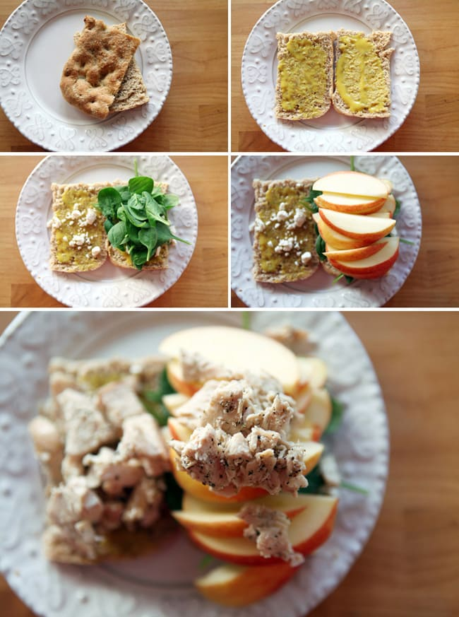 A collage of five images showing the putting together of a faux yard bird sandwich