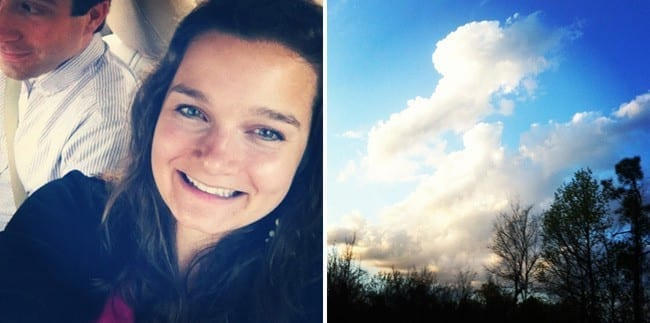 A collage of two images showing woman smiling and a blue sky with clouds