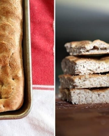 A collage shows two images of Homemade Herbed Focaccia, one in a pan after baking and the other on a cutting board with four slices stacked