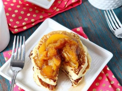 balsamic peach compote on pancakes