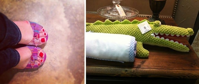 A collage of two images showing a woman\'s polished toes and a stuffed animal alligator