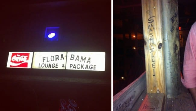 Two images of Florabama sign and wood deck