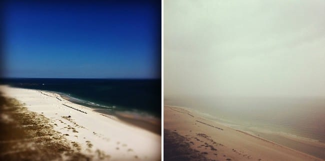 A collage of two images showing the beach, ocean and sky