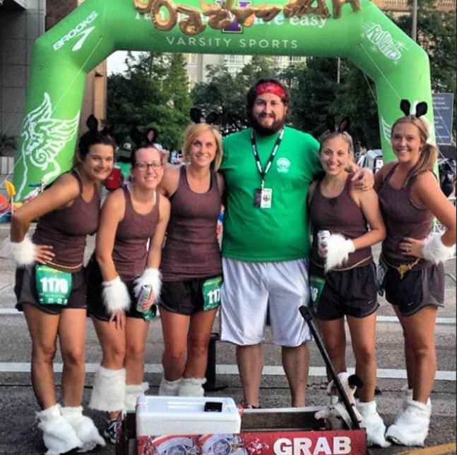 Hey, that's us with local blogger (and our driver) Jay DuCote, after crossing the finish line!
