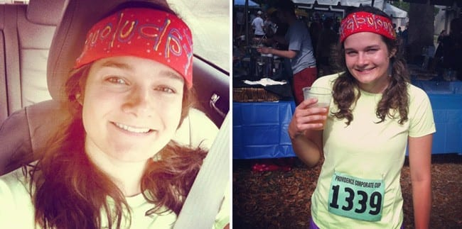 Collage of two images of woman in red headband and smiling for camera