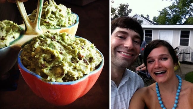 Collage of two images showing bowls of guacamole and man and women smiling
