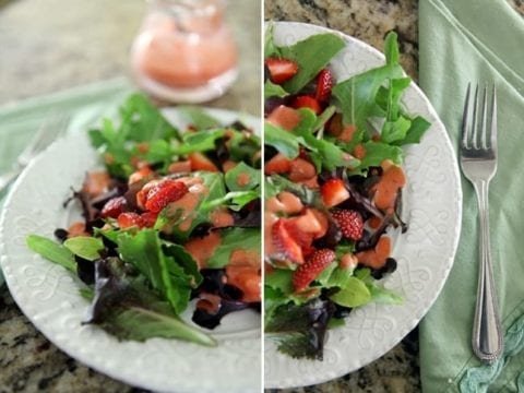 A collage of two images showing a fresh green salad topped with Strawberry Vinaigrette from the side and above
