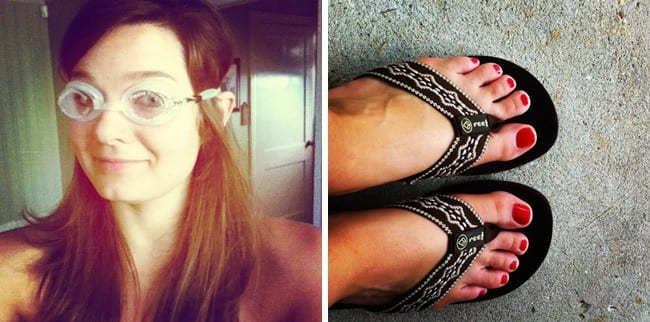 Two images with woman wearing goggles and a woman\'s feet in sandals