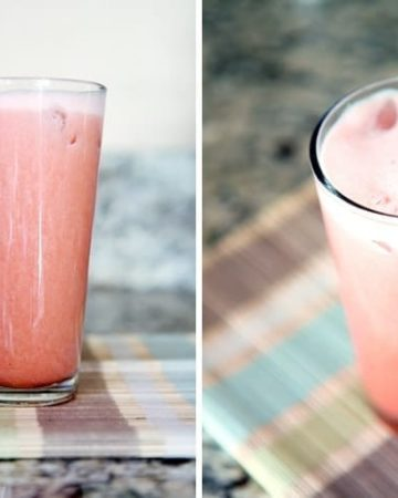Collage of two images showing Strawberry Pineapple Agua Fresca from the side on a countertop and then one from above