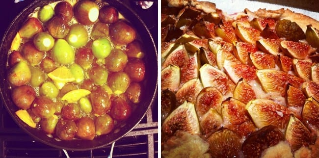 Collage of two images showing figs in a pot and baked, sliced figs