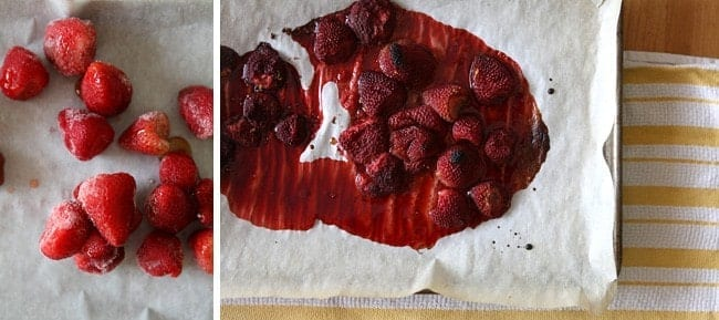 Collage of strawberries before and after roasting for the Roasted Strawberry Cheesecake Popicles