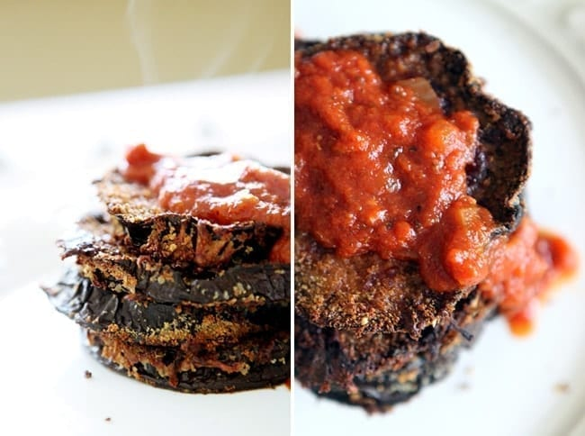 Collage of two images showing a stack of Baked Eggplant Parmesan and a close up of the dish with tomato sauce on top of it