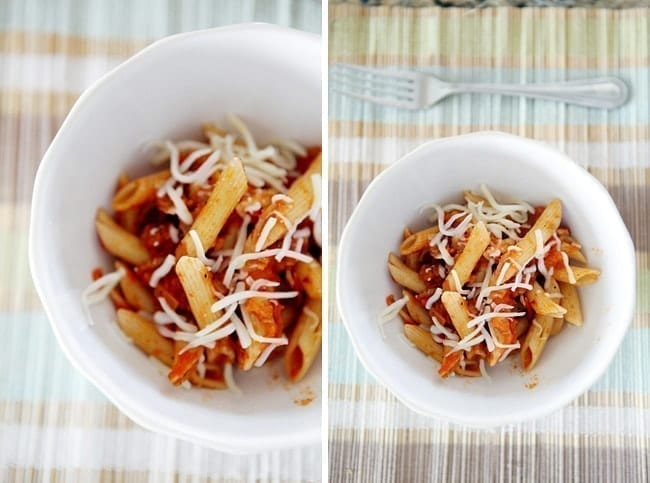 Collage of a two images of a white bowl holding Grace Parisi's Penne Arrabbiata from above