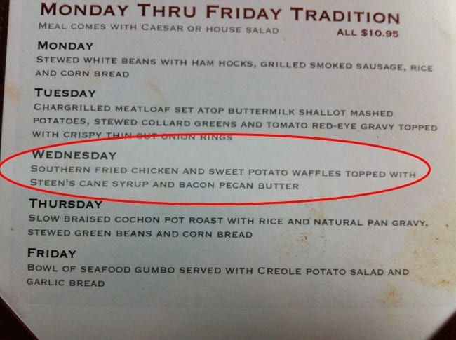Info text of Wednesday special on restaurant menu
