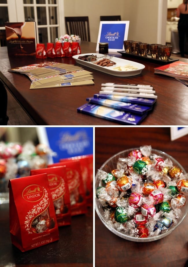Collage of three images showing chocolates on a wood table