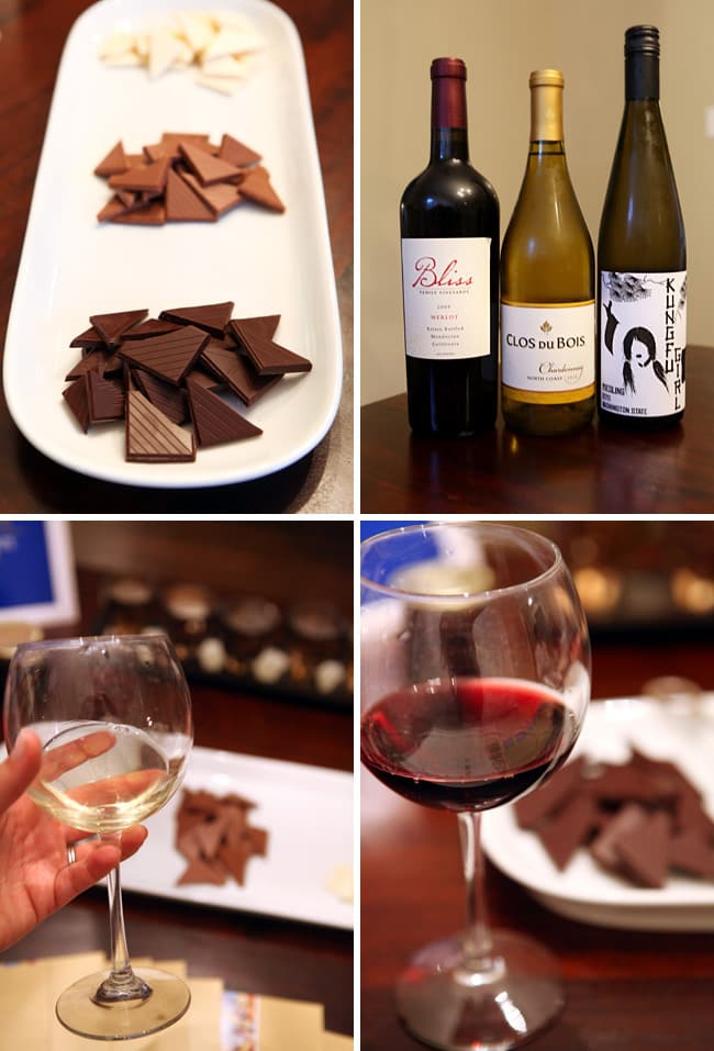 Collage of four images showing chocolates on a white platter and wine