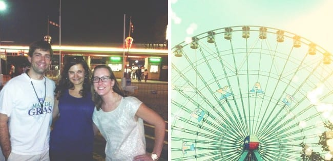 A collage of two images of people posing for picture and a ferris wheel