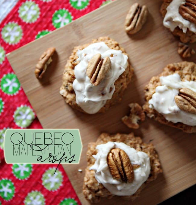 These Quebec Maple Pecan Drops are packed with oats and pecans and topped with a delightful Maple Pecan Frosting to make a perfect wintertime cookie!