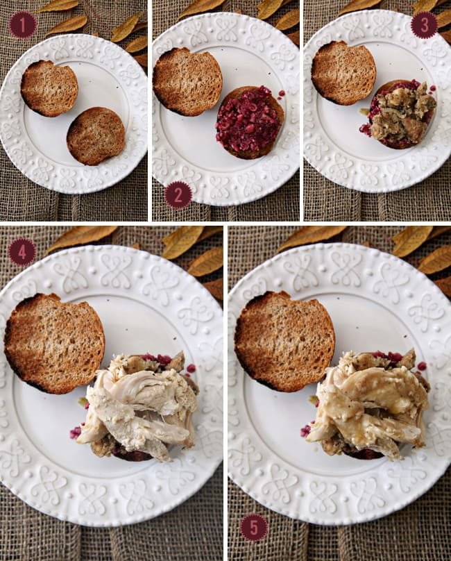A collage of five images showing how to layer a Holiday Leftover sandwich on bread from above
