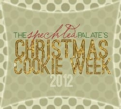 Stylized Christmas Cookie Week 2012 Banner with decorative gold, green and red text over a polka dot green background