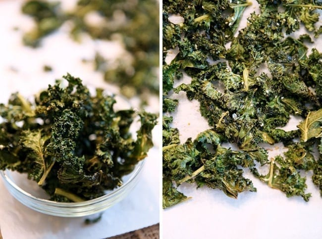 Collage of two images showing Spicy Kale Chips in a glass bowl (left) and the kale chips on a parchment paper lined baking sheet