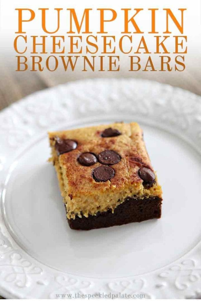 Close up of a Pumpkin Cheesecake Bar on a white plate with the text 'Pumpkin Cheesecake Brownie Bars'