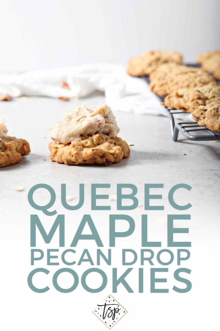 Quebec Maple Pecan Drops make a sweet treat for the holiday season! These fluffy drop cookies are packed with oats and pecans, and topped with a Maple Pecan Frosting. | Maple Cookie Recipe | Oatmeal Christmas Cookies | Christmas Cookie Recipe | Pecan Cookies | Maple Christmas Cookies | Holiday Baking Recipes | Easy Christmas Cookies | Recipes to Make with Kids | Christmas Cookies for Kids | #sweetestseasoncookies #christmascookie #holiday #maplesyrup #speckledpalate