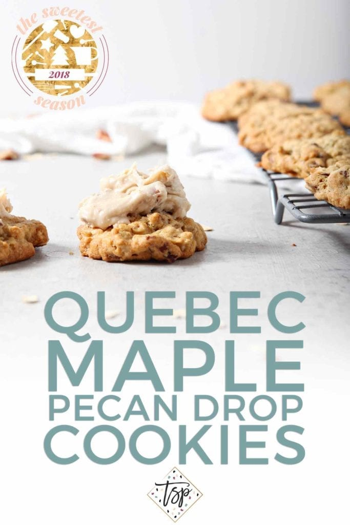 Pinterest graphic for Quebec Maple Pecan Drop Cookies, featuring an iced cookie sitting next to a cooling rack holding several uniced ones