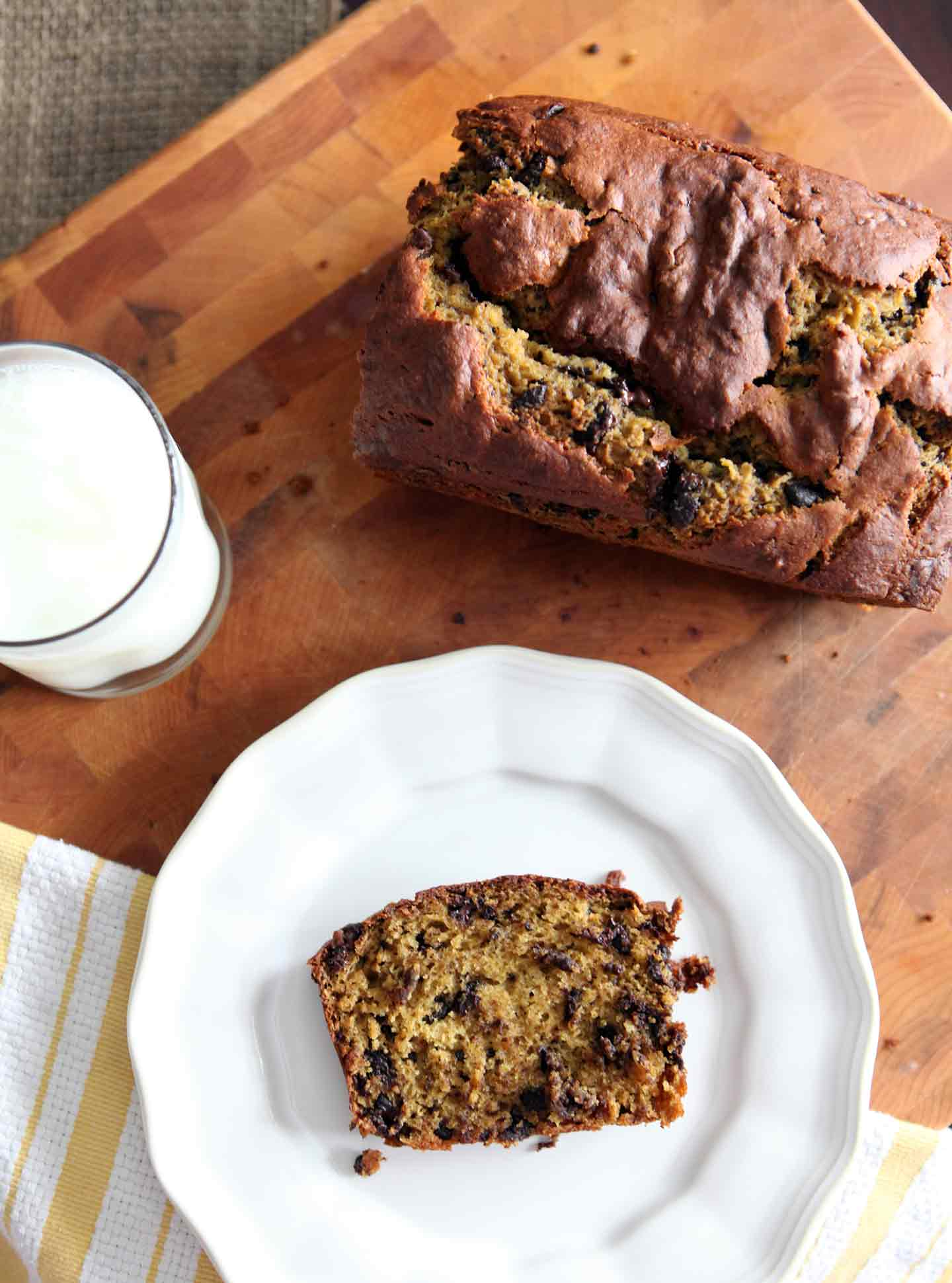 Chocolate Chip Pumpkin Bread is moist, full of pumpkin flavor and studded with dark chocolate chips. This pumpkin bread is a perfect addition to any breakfast table.