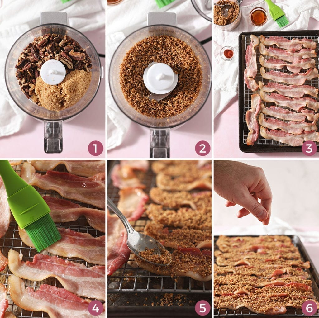 A collage of six images showing the steps of how to make candied bacon