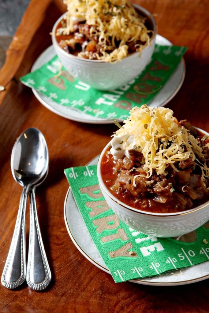 Hearty Shiner Bock Chili makes the perfect wintertime meal that the whole family will love. Ground beef, chili en adobo, canned whole tomatoes, a bottle of Shiner Bock, and spices come together to make this comfort dish in 30 minutes! Once cooked, let the chili simmer on the stovetop until it's time to eat. A comforting dish to the core, Shiner Bock Chili highlights the spicy/sweet of chili en adobo and a well-loved Texas dark lager. YUM!