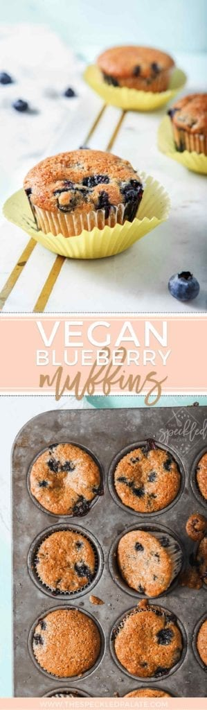 Pinterest collage of Vegan Blueberry Muffins, featuring a photo of the muffins on display on a marble slab and another with the muffins straight out of the oven, golden brown and delicious