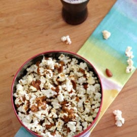 Sweet, sticky and salty, Caramel Corn with Almonds is the perfect treat to enjoy while bingeing on your favorite show or movie. This traditional sweet treat is made even more delightful by the addition of almonds.