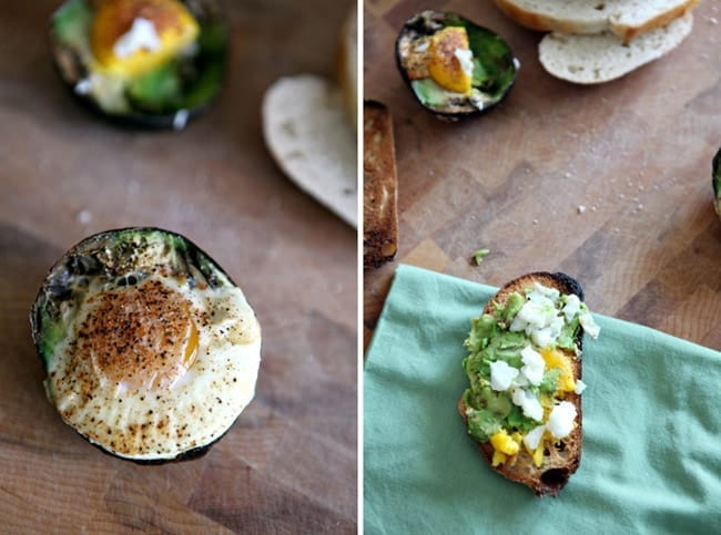 A collage of two images showing half of a baked egg inside an avocado and a piece of toast with avocado and baked egg on top, both on wooden cutting boards