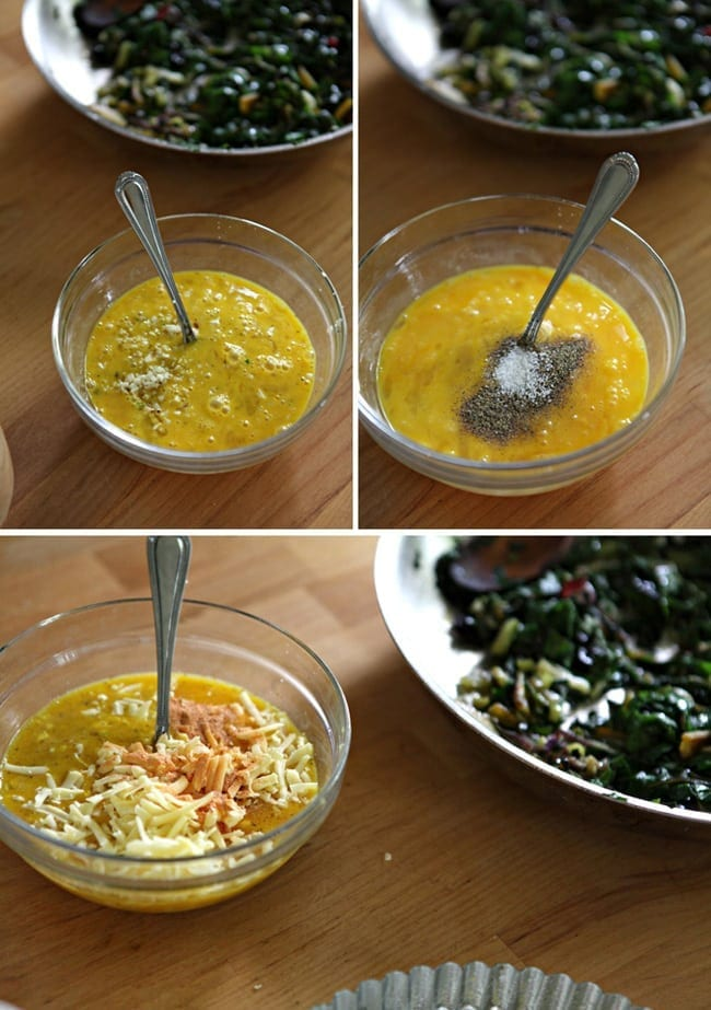 A collage of three images showing a bowl of eggs, whipped with a fork in them, the same bowl of eggs with seasonings on top of it and the bowl of eggs with shredded cheese on top