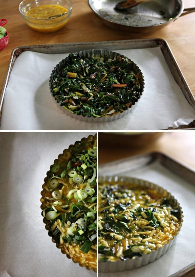 A collage of three images, showing sauteed chard in a tart pan on a baking sheet, a close up of scallions on top of chard in a tart pan and the mixture of ingredients before baking