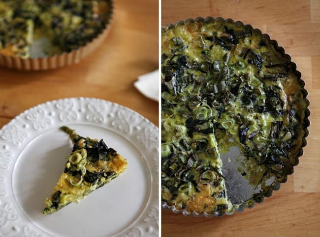 A collage of two images, showing a slice of Rainbow Chard and Scallion Frittata on a white plate and the frittata from above with a slice out of it