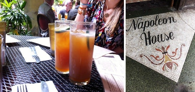 A collage of two images showing two Pimm's Cups on an outside table and the tile on the ground outside of the Napoleon House