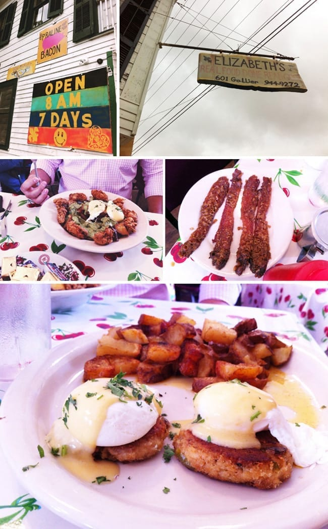 A collage of five images showing the brunch at Elizabeth's in New Orleans