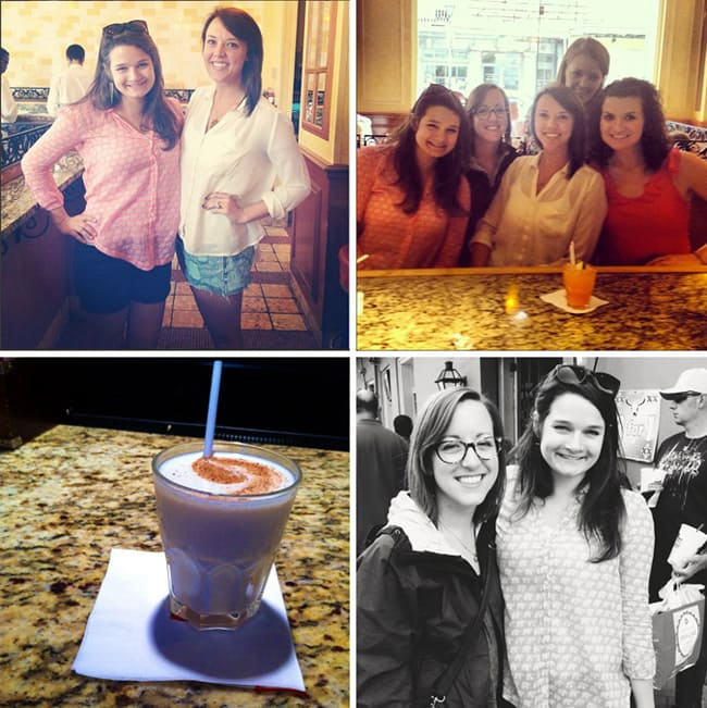 A collage of two women smiling, five women at a bar, a drink with cinnamon on top on a bar and two women in New Orleans